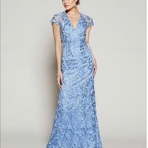 Carmen Marc Valvo V-Neck Fleurette Illusion Gown